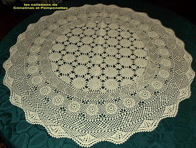 Napperon Centre De Table  Crochet D'art  Fait Main Ecru Rond 90 Cm