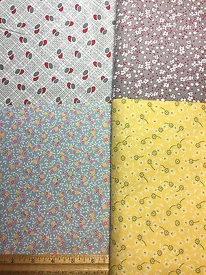 Cotton Quilting Fabric Sewing 30s Reproduction 4 PRETTY Prints 44w 1yd