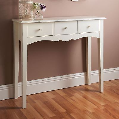Shabby Chic White Wooden Console Hall Table Side End Dressing Desk W/ 3 Drawers