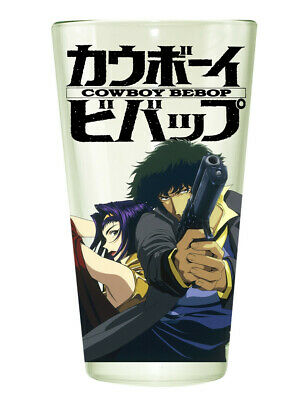 Cowboy Bebop Clear Pint Glass with Spike and Faye Pointing Guns NEW UNUSED