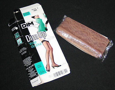 """Bas Stay-Up T 4 France """"dim Up"""" Nylon Voile Ambre Charme Erotique Lingerie Sexy"""
