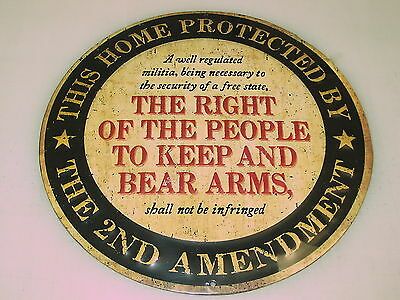 THIS HOME PROTECTED BY THE 2ND AMENDMENT Tin Metal Sign Retro Vintage 3D