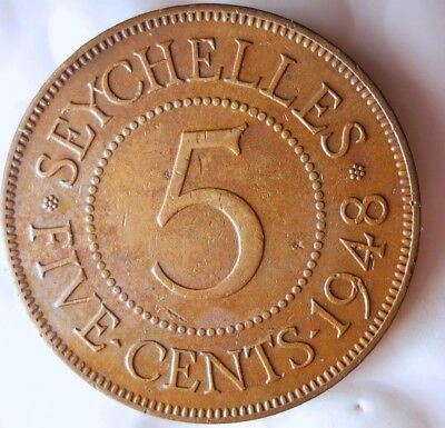 1948 SEYCHELLES 5 CENTS - Only 300,000 Minted - FREE SHIP - Seychelles Bin