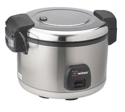 Winco RC-S300 30 Cup Electric Rice Cooker Warmer Hinged Cover Satin Fnsh