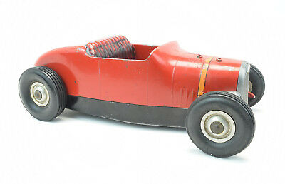 Vintage 1950's All American Hot Rod Tether Car Race Toy Vehicle Red RARE