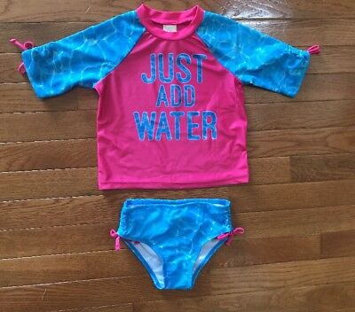 OP Just Add Water Girls Size 2T Rash Guard & Bikini Bottoms Swimsuit New NWT