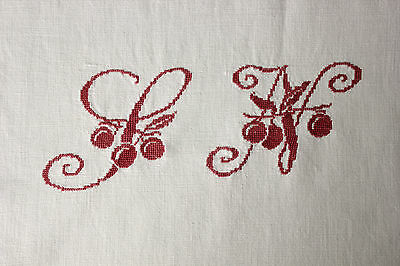 Vintage French cotton sheet LN monogram  72X114 red cross stitch light weight