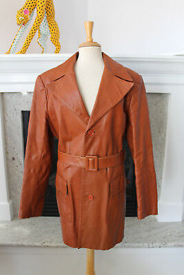 SEA BELL LEATHERS Gorgeous Vintage 70's Tan WOMEN'S Belted Jacket  Coat XL 14