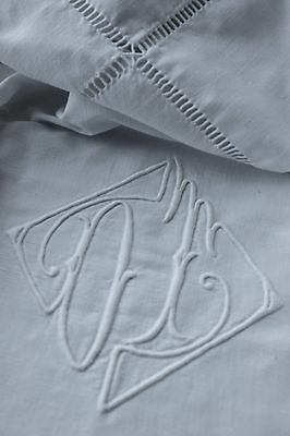 Vintage French COTTON FINE OT monogram white 87 by117inch FINELY woven cotton