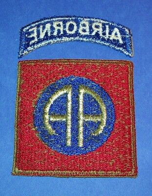 ORIGINAL GREENBACK WW2 82nd AIRBORNE DIVISION PATCH + TAB