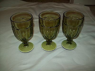 Set of 3 Libbey Duratuff Gibraltar Olive  Ice Tea Glass Tumblers MINT