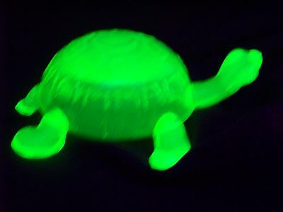 Glass Vaseline Green Uranium  Head Up Tommy Turtle   (( 156998 ))