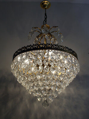 Antique French Basket Style Brass & Crystals GIANT BOHEMIA Chandelier from 1950'