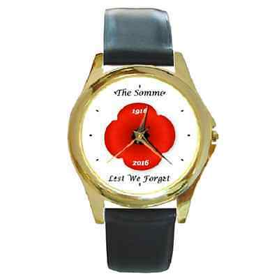 The Battle Of The Somme Poppy Centenary Round Wristwatch **great Gift Item**