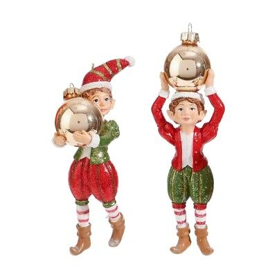 "RAZ Imports 5.5"" Elf Elves Holding Ornaments Set/4 Red Green Gold Christmas NEW!"