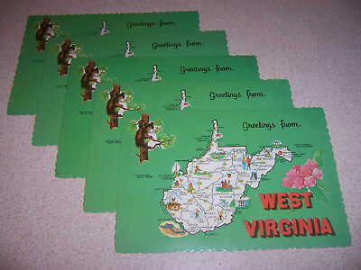 Vtg West Virginia State Map Souvenir Unused Postcard Lot