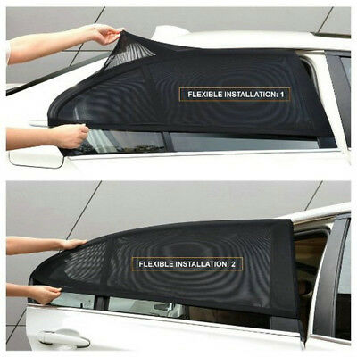 2 x Car Side Rear Window Mesh Cover Shield Sun Visor Shade Sunshade UV Protector