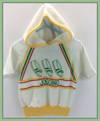 1970s Vintage Lollytogs Brand Terry Cloth Jogging Hooded Shirt Top Size XS 6x