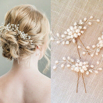 3pcs Vintage Crystal Diamante Pearl Flower Bridal Wedding Hair Pins Hair Clips