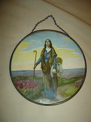 "Antique  Flue Cover: Lady with Staff. Original chain hanger. 7"" diameter. 9568"