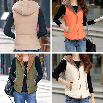 Women Outdoor Casual Winter Warm Vest Cottom Coat Solid Top Outwear Overcoat New