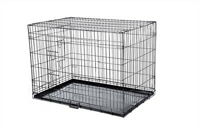 HQ Pet Dog Folding 2 Door Deluxe Crate Puppy Carrier Training Cage Without Bed