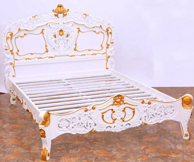 ROYAL-DESIGN SCHLAFZIMMER BETT weiß-gold [ca.140x200cm] Lit, BED, LETTO, سَرِير