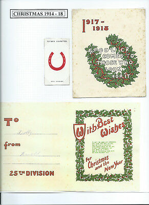 WW1 25th Division Folding Xmas Card 1917
