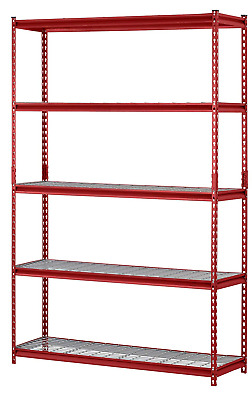 "Muscle Rack UR184872-R 5-Shelf Steel Shelving Unit 48"" W x 72"" H x 18""L Red"