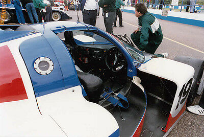ASTON MARTIN SPORTS CARS No.19, IN PITS COLOUR PHOTOGRAPH.