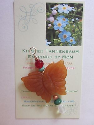 Carved GemStone Red Green Butterfly Mariposa Small Holiday Gift with Velvety Bag