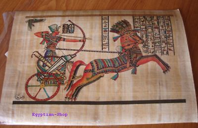 Genuine Egyptian  PAPYRUS -King Tutankhamun in Chariot - 29.5 x 19.5cm   #410