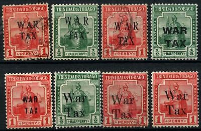 Trinidad & Tobago 1917-8, 10 War Tax Stamps MH + Used #D57502