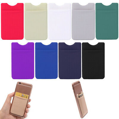 Elastic Cell Phone Wallet Credit Case ID Card Holder Pocket Adhesive Sticker