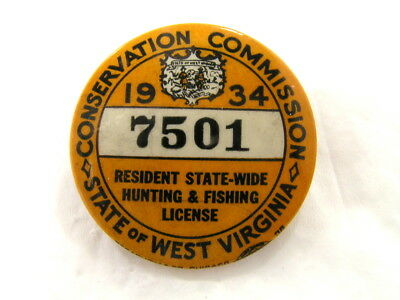Vintage 1934 West Virginia Resident State-Wide Hunting Fishing License Pin Badge