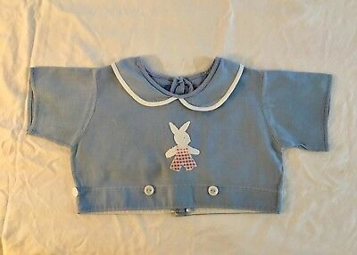 Vintage 1948 Hand Fashioned Blue Cotton Baby Top  Newborn To 3 Mo Pre-Owned