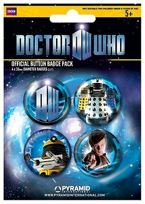 Button Badge 4er Pack DOCTOR WHO - Dalek 4 x 38mm NEU