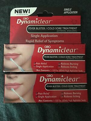 2 Oro Dynamiclear Fever Blister/Cold Sore Treatment - 0.017 oz Each - Exp 9/2019