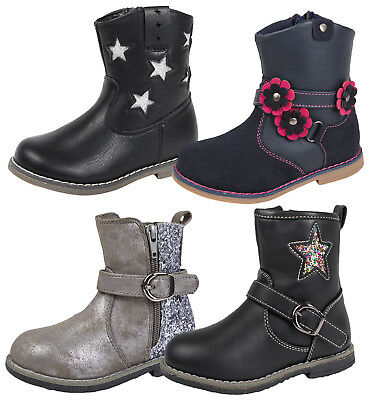 Girls Toddlers Faux Leather Mid Calf Ankle Boots Glitter /3D Flower Shoes Size