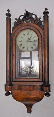 large usa walnut inlaid striking wall clock c1900s