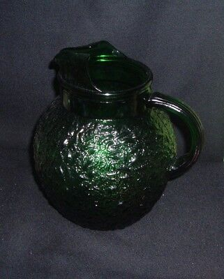 Vintage Anchor Hocking Forest Green Glass PITCHER Lido Milano Crinkle