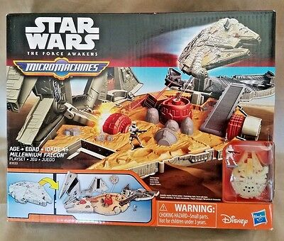 Star Wars The Force Awakens Micro Machines Millennium Falcon Play set Hasbro