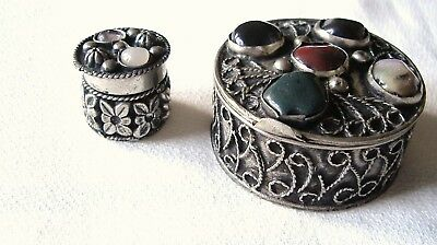 Two Silver Tone Metal Wirework And Agates Trinket/pill Boxes.