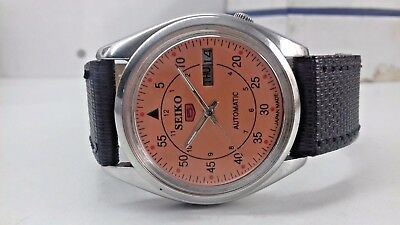 6309 Seiko 5 Day-Date Automatic Orange Color Dial Numeric Figure Man's Watch
