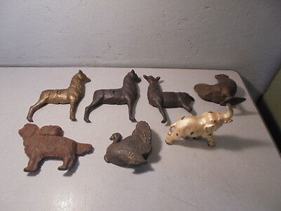 Lot of 7 Antique Cast Iron Toy Bank & Animal Parts