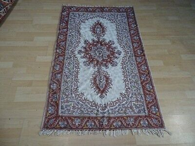 Antique Textile French Embroidery Mat Rug Finely Detail Hand Made