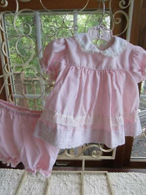 Vintage KATE GREENAWAY Little Girls 2pc Dress PINK Cotton & Lace w/ Diaper Cover