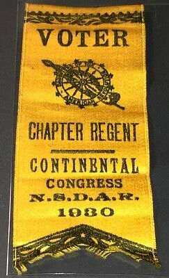 Scarce 1930 N.s.d.a.r. Chapter Regent / Continental Congress Voter Badge - Vf-Xf