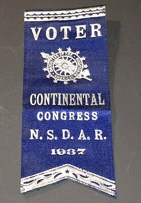 Scarce 1937 N.s.d.a.r. Continental Congress Voter Ribbon Badge - Xf!