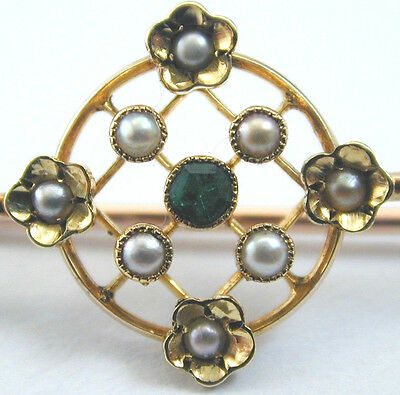 Harrods pearl and emerald brooch 9ct gold 2g Art Deco